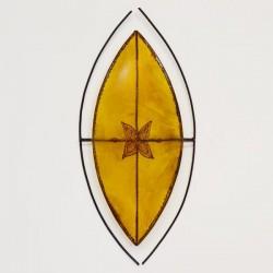 Aplique de parede de estilo africano de forma escudo Zulu de couro pintado