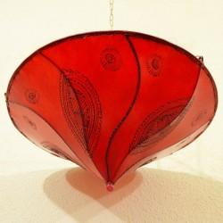 Plafoniera marocchina forma giglio di pelle rosso