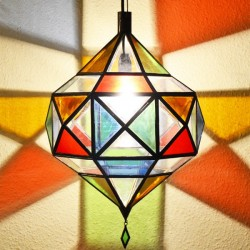 Picasso diamond ceiling lamp of colored glass