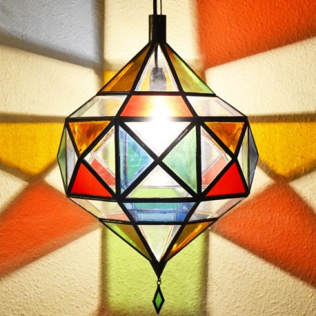 Picasso diamant hängelampe aus farbigem kristall