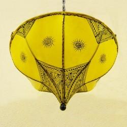 Plafond de tecto tulipa amarela de couro pintado