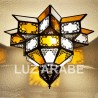 Plafonnier andalouse de verre blanc et jaune