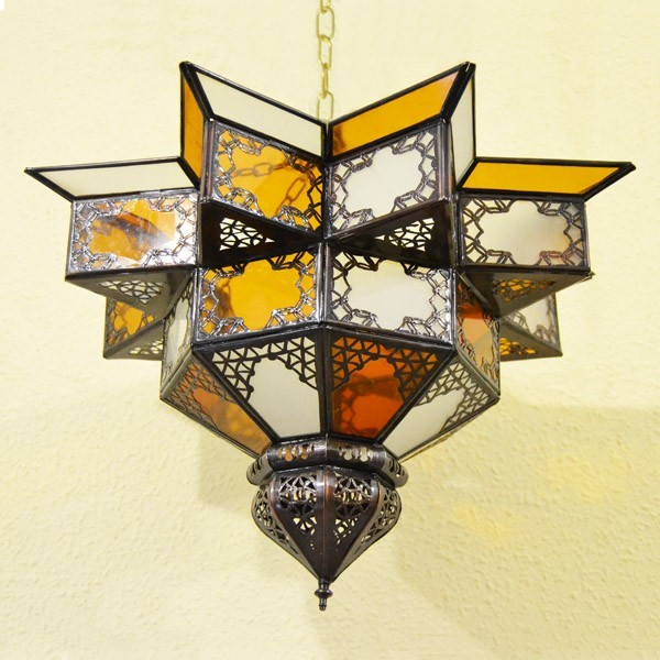 Buy Star Ceiling Light Shade Of White And Yellow Glass 43 Cm