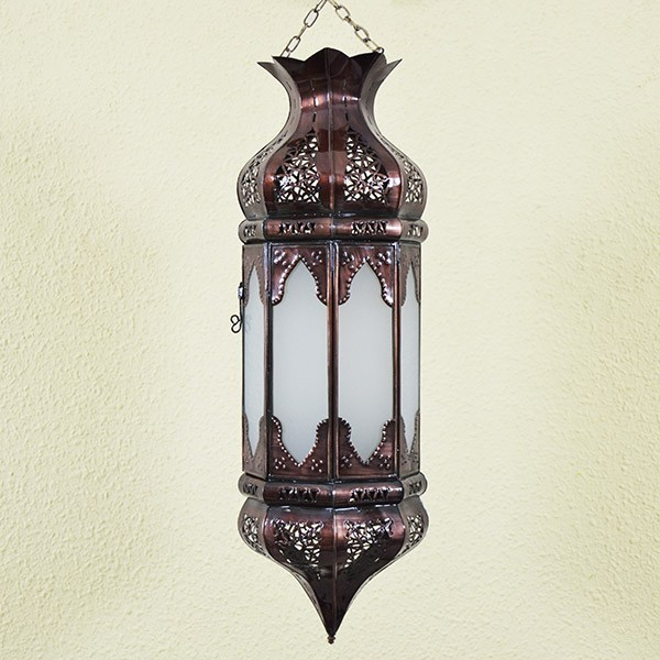 Buy Octagonal Moroccan Ceiling Light Of White Glass 57 Cm