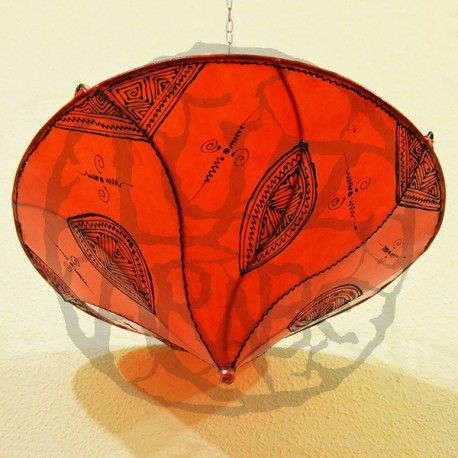 Plafoniera marocchina forma giglio di pelle arancione