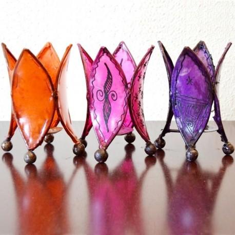 Pack 3 castiçal forma lírio de couro pintado com henna