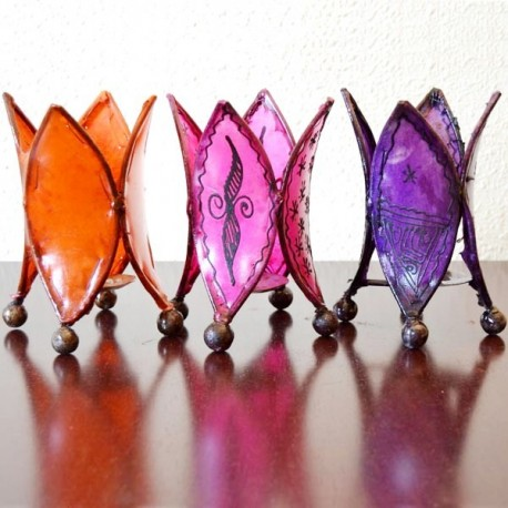 Pack 3 Portavelas forma lirio de cuero pintado con henna