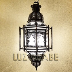 Grande candeeiro marroquino com barras de vidro branco opaco
