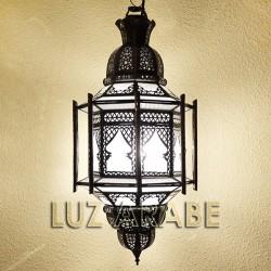 Grand lustre marocain avec bars de verre blanc opaque