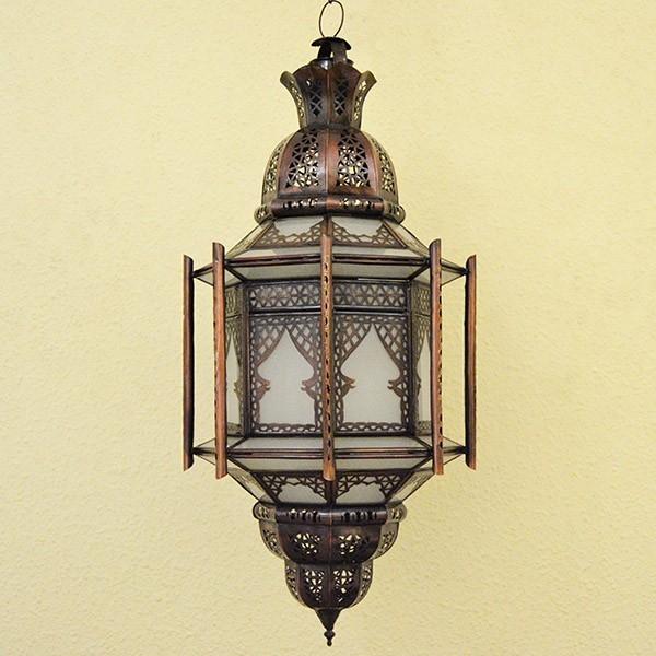... Lampadari Etnici > Grande lampadario etnico con barre in vetro bianco