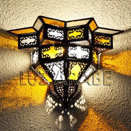 Aplique de parede estrela e vidro amarelo e branco