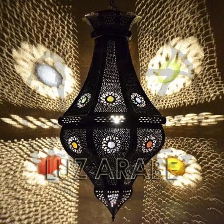 Lámpara rustica de techo octagonal de forja calada bronceada