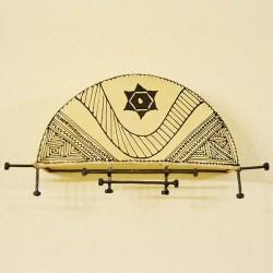 Aplique de barco de couro pintado