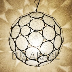 Candeeiro grande forma esfera de vidro translúcido