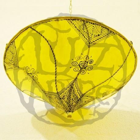 Plafoniera marocchina forma giglio di pelle giallo