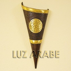 Large torch-shape wall sconce of copper