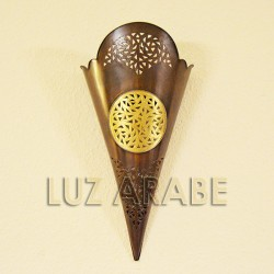Torch-shape wall sconce of inlaid copper