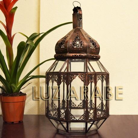 Grand lanterne à bougie en verre transparent