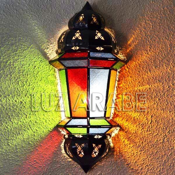 Compre aplique rabe con cupulas de forja calada y cristal de colores de 46 cm - Apliques arabes ...