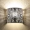 Marokkanische Wandleuchte aus durchbohrtem Aluminium mit Damastmuster