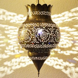 Pomegranate shape Moroccan ceiling lamp of pierced brass