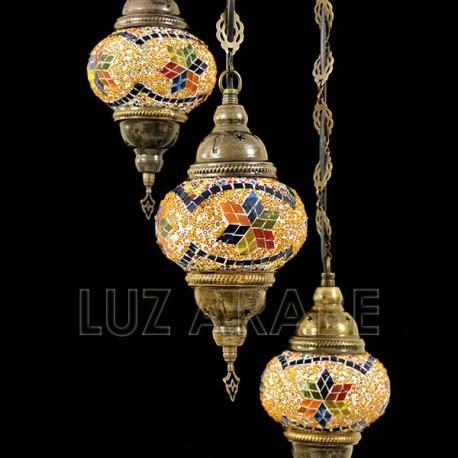 Lampadario in mosaico turco a tre globi di tonalità ambra