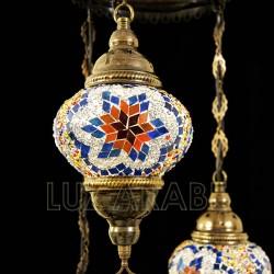 Lustre en mosaïque turque avec trois globes et ton bleu