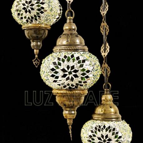 Lampadario in mosaico turco a tre globi di tonalità verde