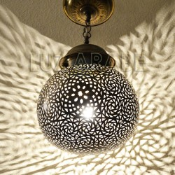 Sphere shape Moroccan ceiling lamp of brass