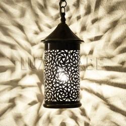Lampe suspension marocain en laiton de forme cylindre