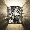Moroccan wall light of pierced aluminum with cuneiform pattern