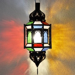 Andalusian octagonal lamp with bars and domes of openwork iron and colorful crystal