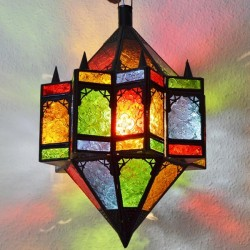 Octagonal star lamp with two cones of colorful crystal