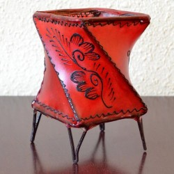 Twist candleholder of leather painted with henna