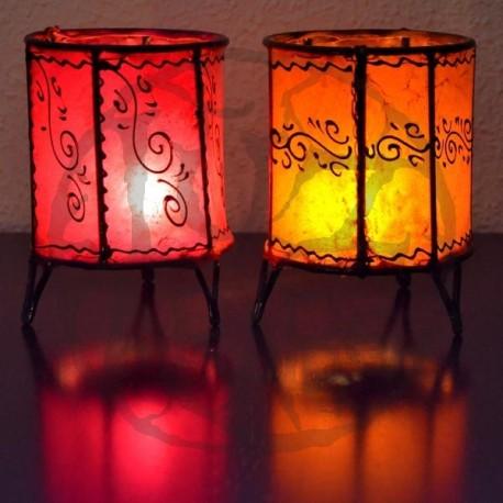 Portavelas copa de cuero pintado con henna