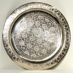 Moroccan silver tea tray of carved nickel silver