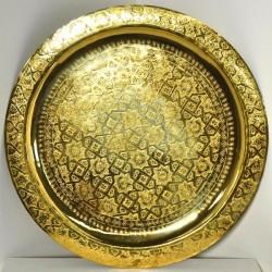 Vassoio dorato il tè marocchino di ottone intagliato