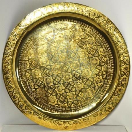 Plateau doré de thé marocain en laiton gravé