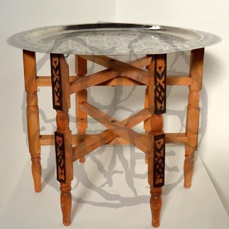 Teetisch von Faltung Schenkel mit tablett von geschnitzt neusilber