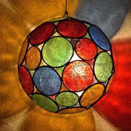 Lampe forme de sphère de verre coloré