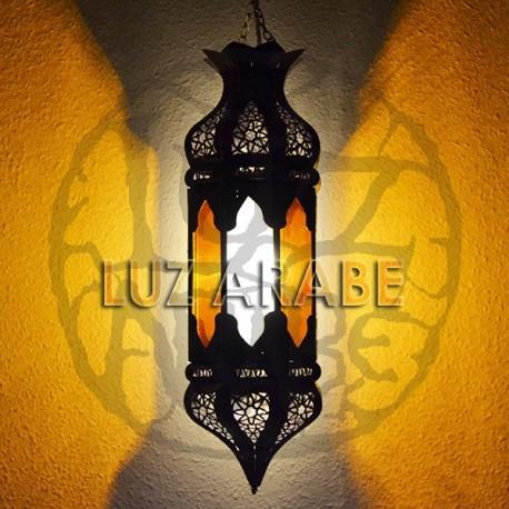 Candeeiro marroquino octogonal de vidro bicolor