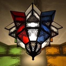 Plafonnier abat-jour andalouse de verre coloré