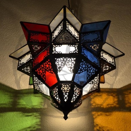 Ceiling light shade of colored glass