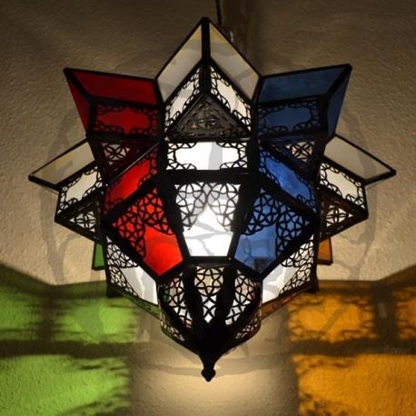 Plafón de techo andalusí estrella de cristal de colores