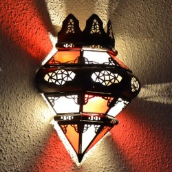 Crown shape wall sconce of glass and pierced iron
