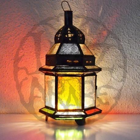 Lanterna di candele in vetro colorato e bronzo trafitto