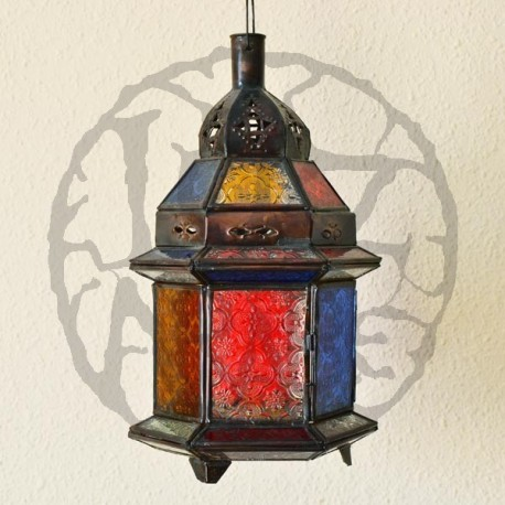 Candle lantern of colored glass and pierced bronze
