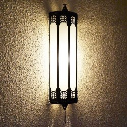 Aplique de pared árabe de bronce y cristal blanco