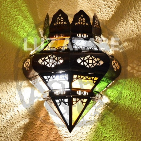 Crown shape moroccan wall light of colorful glass