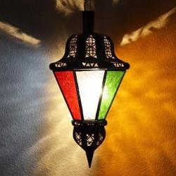 Lámpara octagonal forma bellota de cristal colorado
